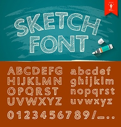 Hand drawn sketch alphabet and numbers vector