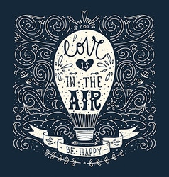 Hand drawn vintage print with a hot air balloon vector image