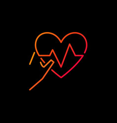 Hand holding heartbeat colored line icon vector