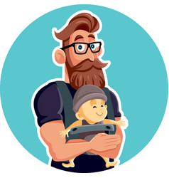 Happy father with baby in sling cartoon vector