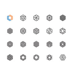hexagon icons vector image