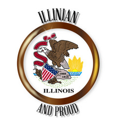 Illinois proud flag button vector