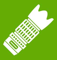 Interchangeable lens for camera icon green vector