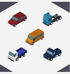 isometric automobile set of lorry suv truck and vector image