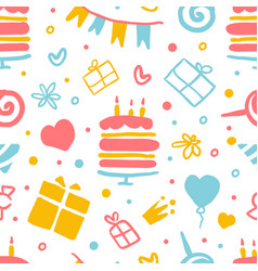kids birthday party seamless pattern happy vector image