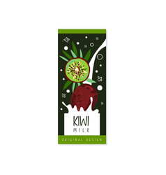 kiwi milk logo original design label for natural vector image