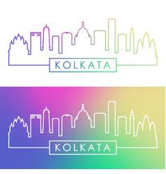 kolkata skyline colorful linear style editable vector image