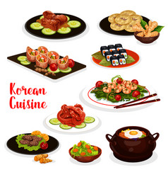 Korean cuisine icon with fish and meat dish vector