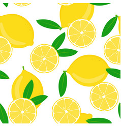 lemon and halved with leaves on white vector image