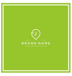 Letter fj pin logo design vector