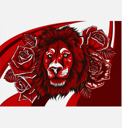 lion with roses on colored background vector image