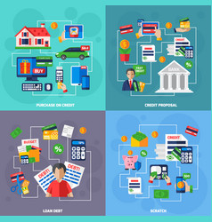 Loan and debt flat set vector