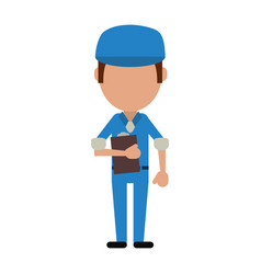 Mailman or delivery guy with clipboard avatar icon vector