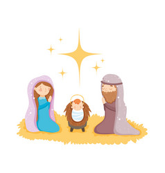 mary joseph and bastar manger nativity merry vector image
