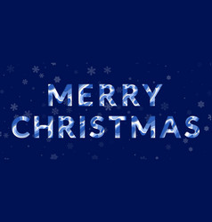 Merry christmas card with fluid paper cut letters vector