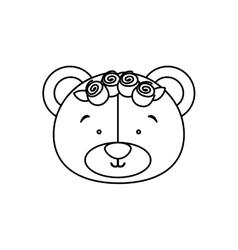 Monochrome contour with face of bride bear vector