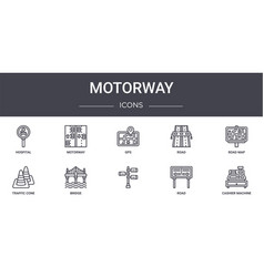 Motorway concept line icons set contains icons vector