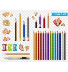 Multicolored sharpened pencils transparent set vector