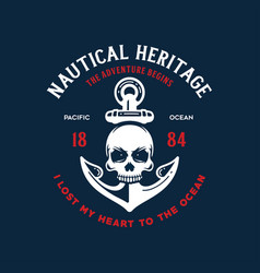 Nautical t shirt print with anchor skull vector