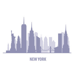 new york cityscape - manhatten skyline silhouette vector image
