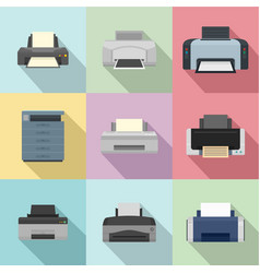 Office technician icons set flat style vector