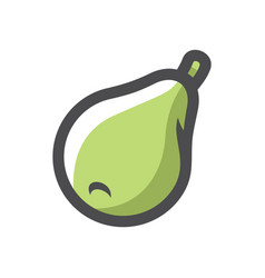 pear big green fuit icon cartoon vector image