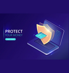 protecting money concept online banking security vector image