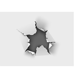 Ragged hole torn in ripped paper on background vector