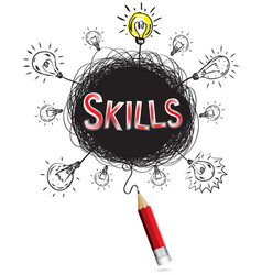 red pencil idea concept red skill education and vector image
