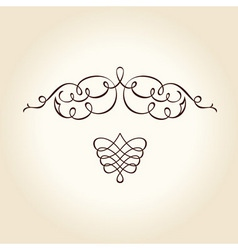 retro ornament calligraphic curves lines vector image