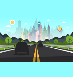 Road with cars silhouettes and city on background vector