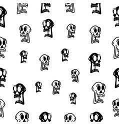 Seamless abstract pattern with skull on white vector image