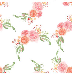 seamless pattern floral lush watercolour style vector image