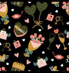 Seamless pattern for valentines day vector