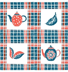 Seamless pattern in lino style teapots and plaid vector image