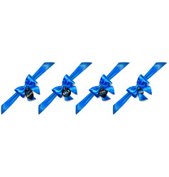 Set of blue bows with diagonally ribbons and sale vector