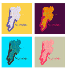 set of flat icon map of mumbai vector image