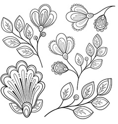 Set of Monochrome Contour Flowers and Leaves vector