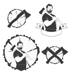 Set of stylish logos lumberjack vector
