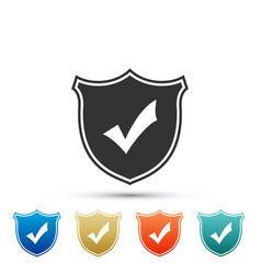 shield with check mark icon on white background vector image
