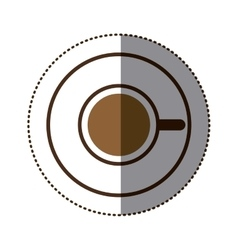 silhouette color sticker with coffee cup top view vector image