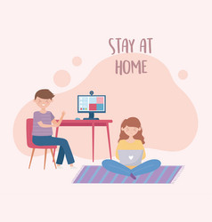 Stay at home boy in online meeting with computer vector