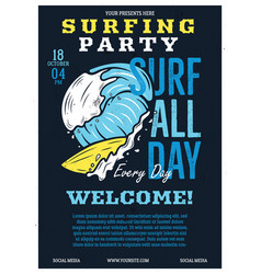 Surfing party flyer a4 format summer adventure vector