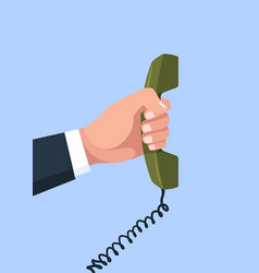Telephone in hand arm holding handset vector