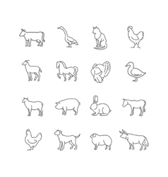 Thin line farm animals icons set vector