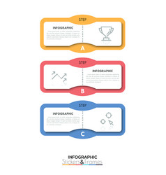 three multicolored rectangular elements with text vector image