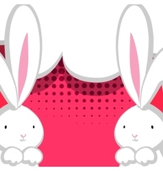 Two white cute rabbit red comic bubble vector