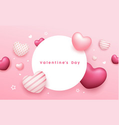 valentines day circle space balloon heart pink vector image