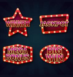 Vegas casino night signboard template vector