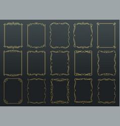 vintage calligraphic golden frames vector image